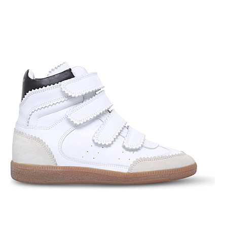 ISABEL MARANT Bilsy leather wedge high-top trainers (White