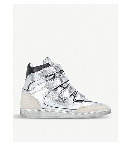 ISABEL MARANT Bilsy metallic-leather wedge trainers (Silver