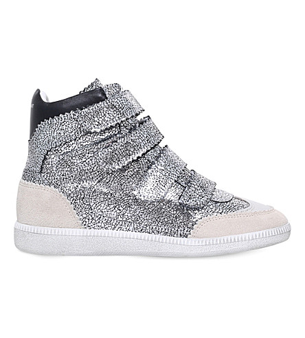 ISABEL MARANT Bilsy metallic-leather wedge high-top trainers (Gunmetal