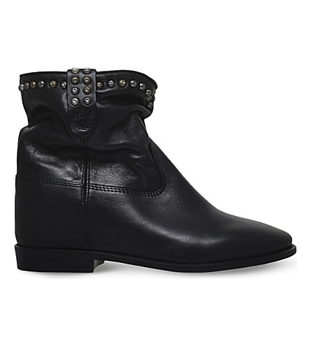ISABEL MARANT Cluster studded leather ankle boots (Black
