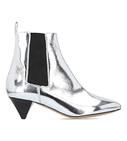 ISABEL MARANT Dawell silver leather boots (Silver