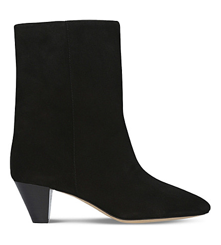 ISABEL MARANT Dyna wide suede ankle boots (Black