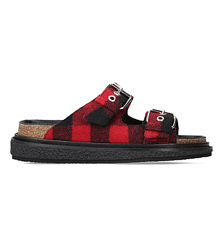 ISABEL MARANT Ledkin leather and wool sandals (Red+comb