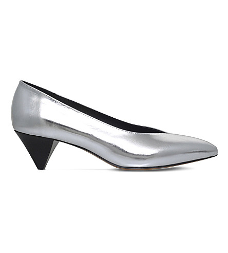 ISABEL MARANT Poomi metallic-leather court shoes (Silver
