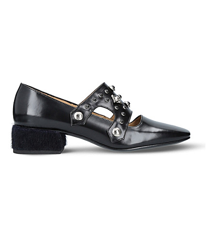 TOGA PULLA Embellished leather heeled loafers (Black