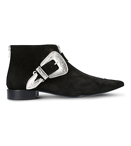 TOGA PULLA Buckled suede ankle boots (Black