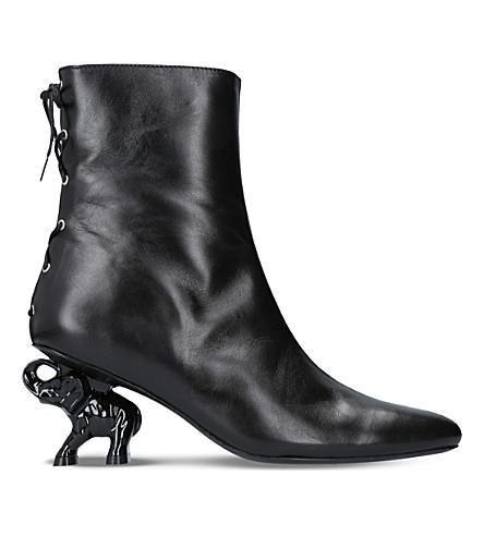 DORATEYMUR Tribal elephant heel leather ankle boots (Black