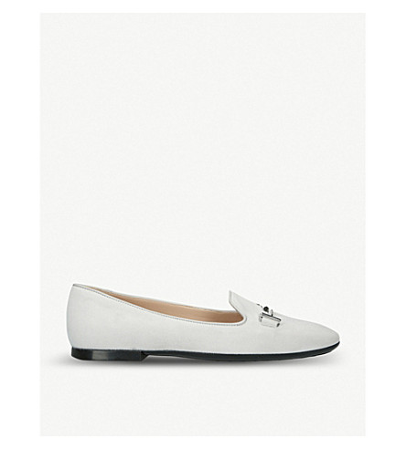 TODS Doppia double T leather slipper shoes (Grey