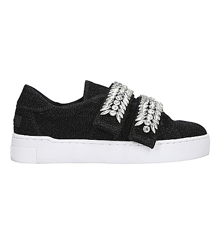 SUECOMMA BONNIE Jewel-embellished glitter trainers (Black