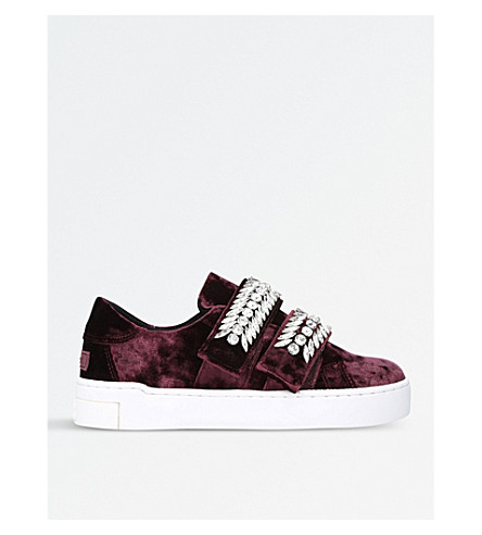 SUECOMMA BONNIE Jewel-embellished velvet trainers (Purple