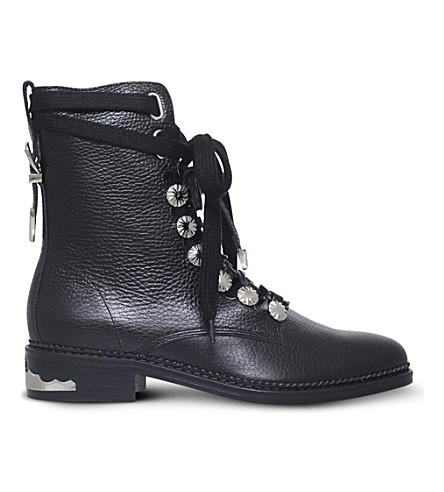 TOGA PULLA Military leather boots (Black