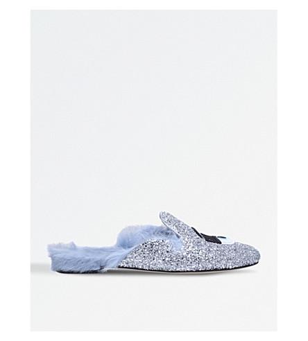 CHIARA FERRAGNI Flirting glittered leather and faux-fur slippers (Silver