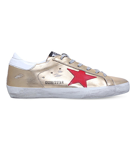 GOLDEN GOOSE Superstar c35 metallic-leather trainers (Gold+comb