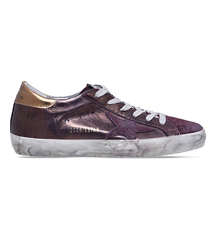GOLDEN GOOSE Superstar C55 metallic-leather trainers (Bronze+com