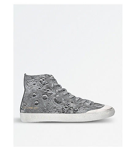 GOLDEN GOOSE Francy Landed coated leather high-top trainers (Silver com