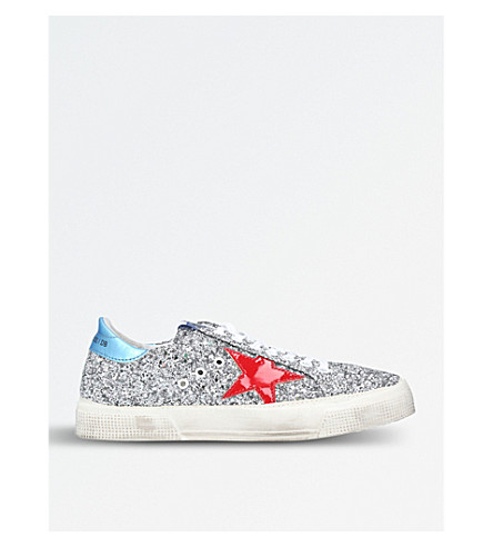 GOLDEN GOOSE May G9 glitter trainers (Silver+com