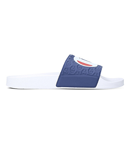 CHAMPION Logo rubber pool sliders (White/comb