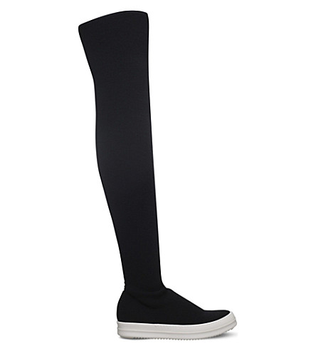 DRKSHDW Stocking Sneak knitted over-the-knee boots (Blk/white