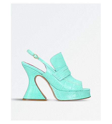SIES MARJAN Ellie crocodile-embossed leather sandals (Pale green