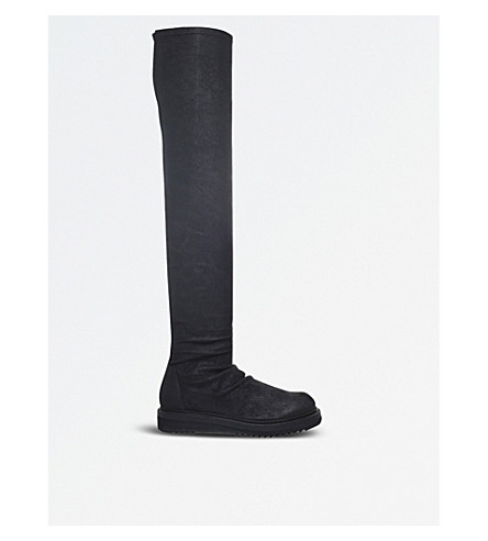 RICK OWENS Stocking creeper leather boots (Black