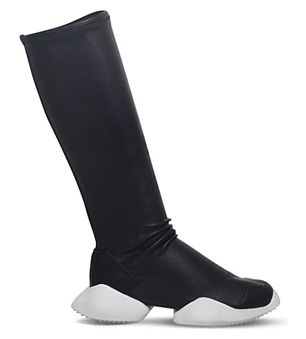 RICK OWENS Rick Owens x adidas Vicious Level Runner leather boots (Blk/white