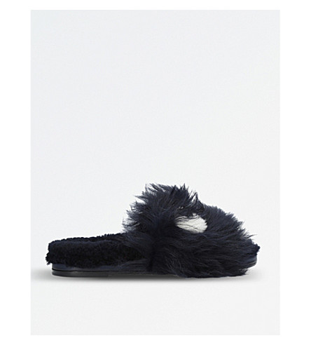 ANYA HINDMARCH Eyes shearling slide sandals (Black
