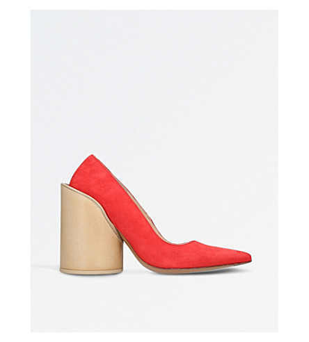 JACQUEMUS Saintes suede heeled pumps (Red
