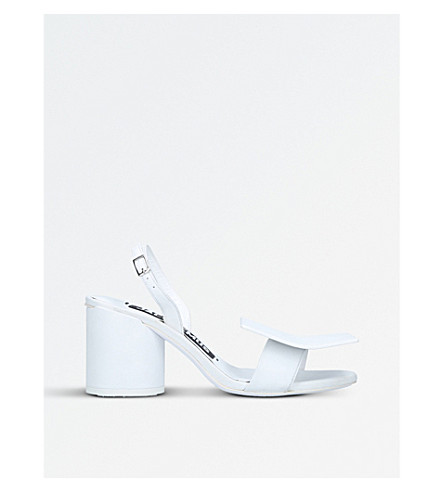 JACQUEMUS Les Ronds Carre leather heeled sandals (White