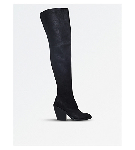 A F VANDEVORST Suede cuban heel over-the-knee boots (Black
