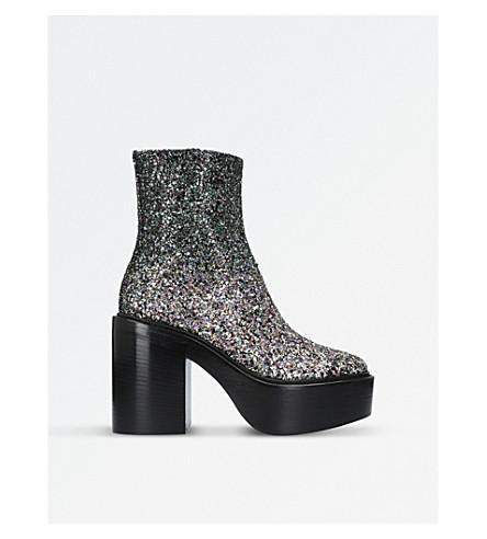 A F VANDEVORST Glitter-embellished platform ankle boots (Dark+green