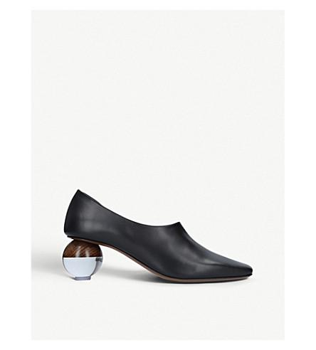 NEOUS兰花皮革宫廷鞋 (黑色