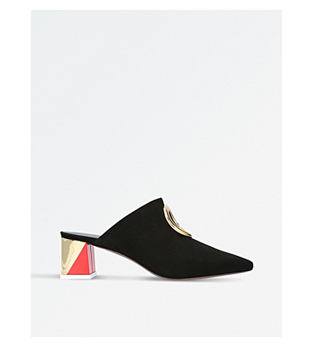 NEOUS Pleione suede mules (Blk/red