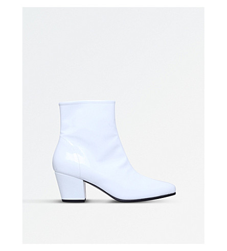 ALEXA CHUNG Beatnik patent leather ankle boots (White