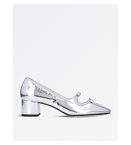 ALEXA CHUNG Bow square-toe leather pumps (Silver