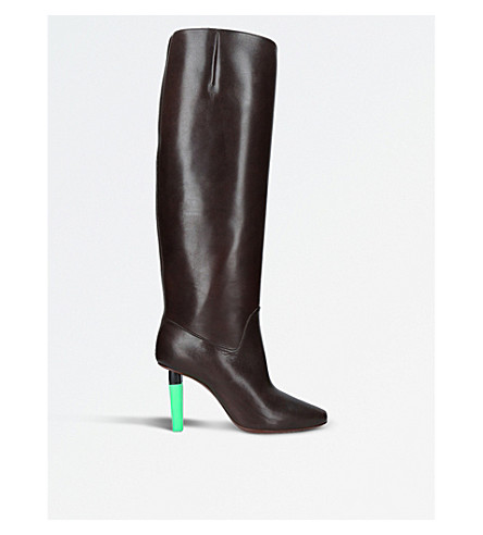 VETEMENTS Social Worker highlighter-heel leather boots (Brown