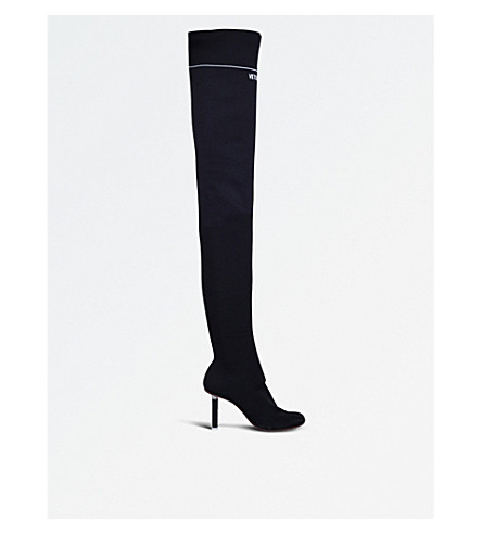 VETEMENTS Lighter-heel over-the-knee sock boots (Black