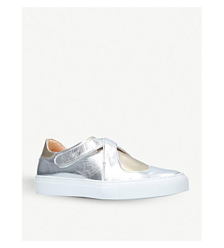 CAMILLA ELPHICK Lover heart-motif metallic-leather trainers (Gold