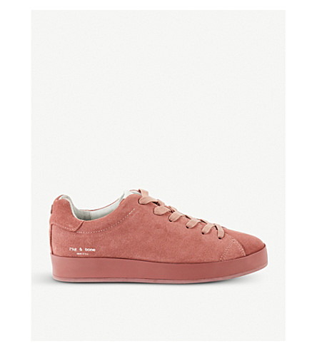 RAG AND BONE Rb1 suede low-top trainers (Pale+pink
