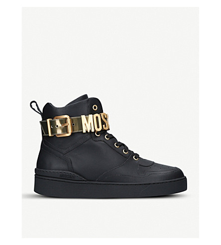 MOSCHINO Logo-strap leather trainers (Black