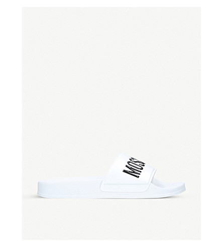 MOSCHINO Logo rubber pool sliders (White/blk