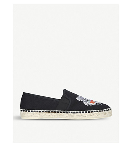 KENZO Tiger-embroidered canvas espadrilles (Black