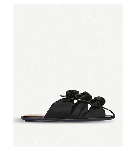 THE ROW Capri bow-embellished leather and satin sandals (Black