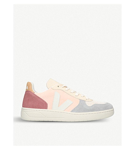 VEJA V10 mesh and leather trainers (White/oth