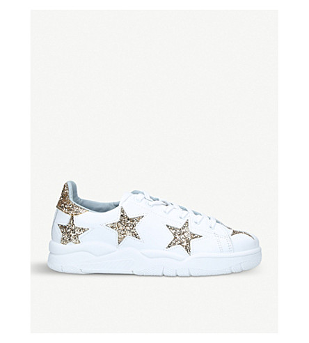 CHIARA FERRAGNI Star leather and glittered trainers (White/oth