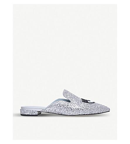 CHIARA FERRAGNI Flirting glitter backless loafers (Silver