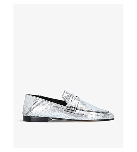 ISABEL MARANT Fezzy metallic leather loafers (Silver