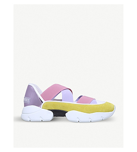 PUCCI City Dance suede and metallic-leather trainers (Yellow