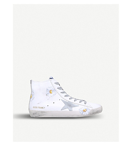 GOLDEN GOOSE Francy B19 high-top leather trainers (White/comb