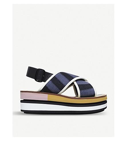 MARNI Bi-coloured wedge sandals (Blk/blue