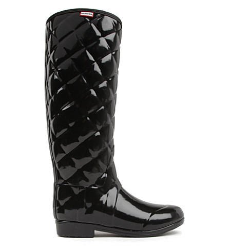 HUNTER Regent Savoy quilted wellies (Black